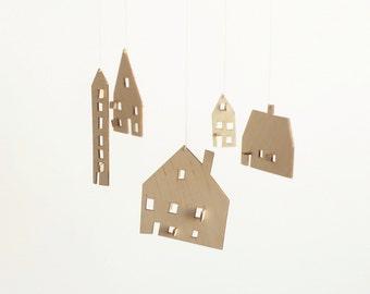 SALE - baby mobile - nursery mobile - baby crib mobile - wooden mobile- house mobile - WOODEN HOUSES