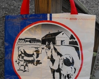 Large Upcycled Feed Bag Tote, Red White & Blue Market Bag, Charity Tote, Carry-All with Easy-Carry Nylon Web Handles, Machine Washable