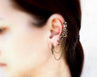 Dragon Cartilage Cuff with Stud Earrings - Gothic Spike Earrings - Hypoallergenic Earrings - Jewelry Sets - Dragon Collection