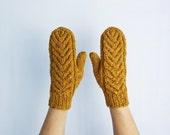 Wool Mittens, Mustard Mittens, Cable Pattern Mittens, Knit Winter Gloves, Women's Gloves