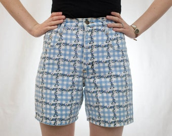 Vintage 90s Floral Checkered Denim High Waisted Shorts / Made in USA by Made in the Shade / Size 5 Small