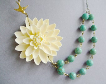 Turquoise Necklace,Bridesmaid Jewelry,Statement Necklace,Beaded Necklace,Boho Necklace,Gift,Wedding Necklace,Flower Necklace,Bridesmaid Gift
