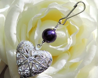 Locket. Wedding bouquet photo charm with pierced heart locket and purple pearl. Bridal shower gift for the bride. Heart locket. Sister gift.