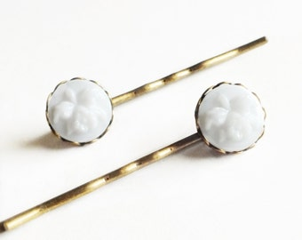 White Orchid Hair Pins Vintage Carved White Floral Bobby Pins Wedding Bridal Hair Pin Orchid Accessories