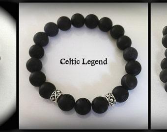 JAMMF, Mens Wedding Bracelet, Matte Black Onyx, Outlander Inspired, Groomsmen Gift, Celtic Pearl Legend Series