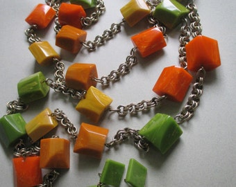 """Bakelite Necklace Earrings Set Mid Century Fall colors 60"""" LONG Chain Beads Fall Colors Catalin vintage costume jewelry MoonlightMartini"""