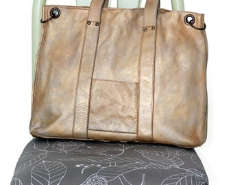 Large leather Tote handbag 80s weekender bag gold tan Leather Shopping Bag  shoulder bag oversize large tote beige big tote