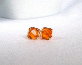 Swarovski Orange Stud Earrings, Sun Fire Crystal Gold Filled Post Earrings, Wire Wrapped Jewelry Handmade, Orange Gold Jewelry