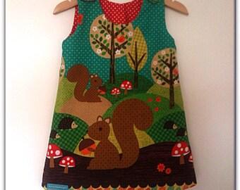 Reversible Woodland Squirrel Toddler/Girls Pinafore Dress - 1-6yrs Made to Order