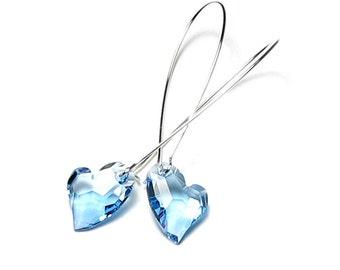 Aquamarine Swarovski Crystal Devoted 2 U Heart Earrings Romantic Women's March Birthstone Frozen Aqua Love Crystal Jewelry Gift For Sisters
