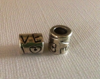 Love charm, 1 charm bead with love, bracelet charms, european charm beads, charms for bracelet,