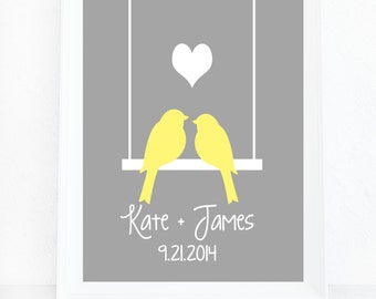 Personalized Wedding Art, Love Birds Print, Custom Wedding Gift, Wall Art, Unique Wedding Present, Anniversary Gift, Gray Yellow Wall Art