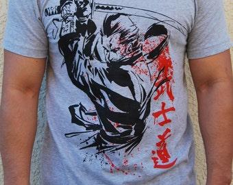 Samurai Warrior War Paint Shogun Fightwear Katana Sword MMA T-Shirt