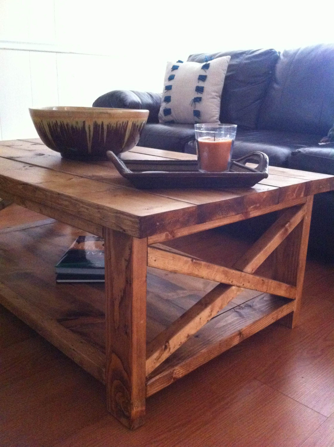 Handmade rustic x wood farmhouse coffee table Unique rustic coffee tables