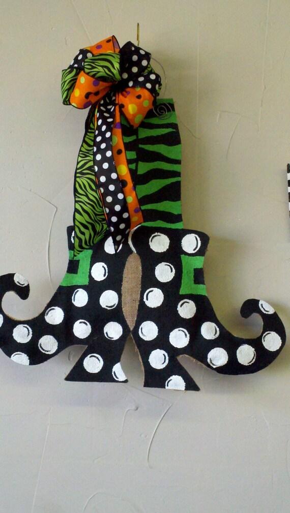 Like this item? & Burlap Door Hanger Halloween Cute Witch Feet Burlap Zebra pezcame.com