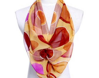 Womens Scarf, Brown Scarf, Floral Print Scarf, Chiffon Scarf, Voile Scarf, Cotton Scarf, Fashion Scarf, Shawl, Scarf for women, Womans Scarf