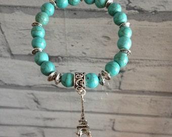 Turquoise Gemstone Eiffel Tower Charm Bracelet
