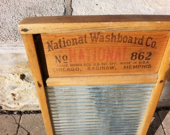 Vintage Glass and Wooden Washboard