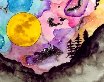 Celestial Luna---> Watercolor Art, Archival Print, Full moon, Celestial, Sky, Trees, Hills, Mountains, Bright, Cosmos