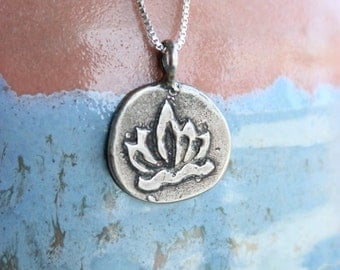 THAI Silver LOTUS flower Charm Necklace