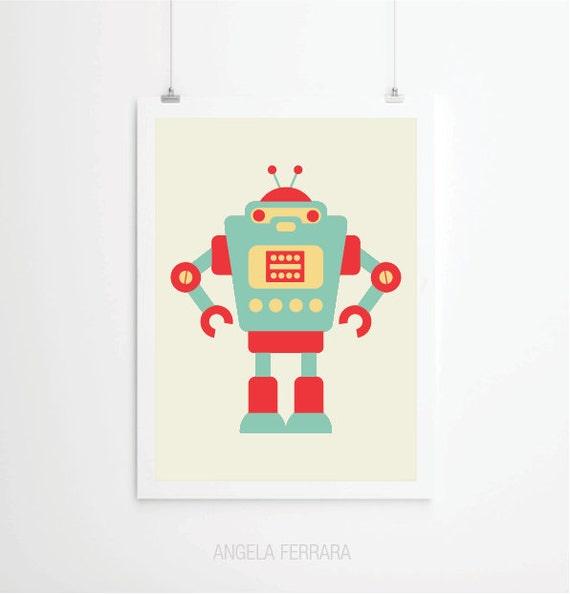Baby art print robot room decor nursery decor by angelaferrara for Robot baby room decor