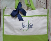 Monogrammed Tote Bag (set of 7)- Bridesmaid Gift- Personalized Bridemaid Tote - Wedding Party Gift - Name Tote-