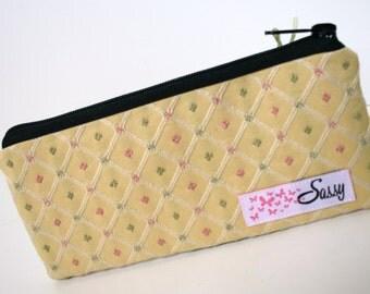 Yellow Fabric Make-up Bag, Small Size Cosmetic Bag, Travel Makeup Bag