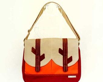 SALE - Messenger Bag - In The Woods ( Beige Orange Burgundy )