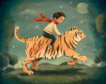Dream Animals Tiger Boy Print by Emily Winfield Martin