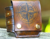 Rustic Leather Wrist Wallet Cuff for Men and Women - World Map - MADE TO ORDER Wristband