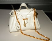 Last one! White Faux Leather handbag for Fashion Royalty Barbie Doll 1/6 Scale Playscale Miniatures