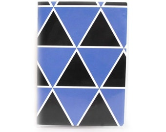 Passport Cover - Triangle Mountains - black and blue triangle geometric - modern passport holder - unisex men's or women's travel