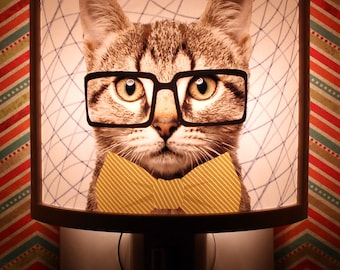 Hipster Cat In Glasses And Bow Tie Tabby Night Light Cute