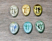Set of Six Small Almond Ceramic Face Stone Cabochons