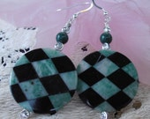 Green Harlequin I - Dangle Earrings
