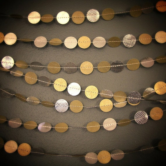 Original gold and silver garland string of circles paper