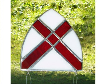 St Patrick Stained Glass Suncatcher Shield, SMALL, White w/ a Red cross, Patron Saint of Ireland