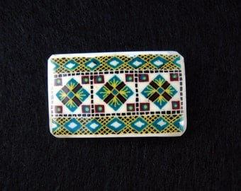 Lapel Pin - Handmade - Traditional - THREE CROSSES - Blue - ostrich egg shell jewelry