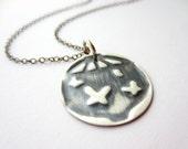 Asian Butterflies Lantern Embossed Sterling Silver Necklace
