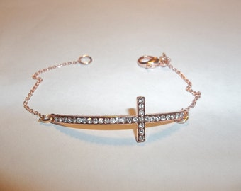 Rose Gold Plated Crystal Sideways Cross Pendant Bracelet-Free Shipping to US Buyers!