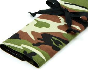 Large Knitting Needle Case - Camo with 30 black pockets for straights, circular, double pointed or paint brushes
