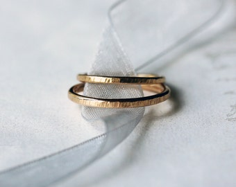 His and Hers Wedding Band Set, Two Gold Bands, 14k Yellow Gold Ring, Hammered Gold Ring, Men's Wedding Ring, Women's Wedding Ring
