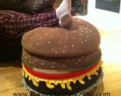Crocheted Cheeseburger Ottoman PATTERN