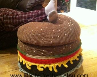 Crocheted Cheeseburger Ottoman PATTERN