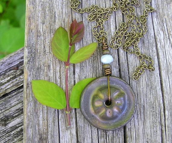 steampunk inspired ceramic pendant necklace with aquamarine gemstone. march birthstone. earthy posy pendant. twilight garden.