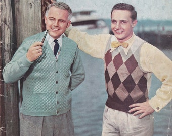 Bear Brand Hand Knits for Men Vol. 344 - 1952 - Vintage Knitting Patterns