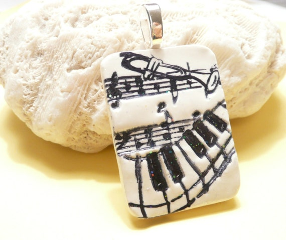 Music Pendant, Musician Jewelry, Black and White, Music Notes, Piano Player Gift, Trumpet Player Gift, add ball chain necklace, polymer clay