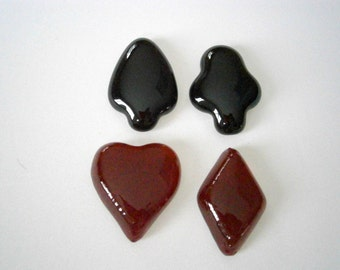 SALE Fused Glass Cabochon Poker Set of 4, Willow Glass, Glass Cabs Heart, Diamond, Club, Spade
