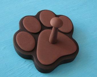 Leash Holder BLACK Dog Brown Pads - Wood Paw Print Peg Hook