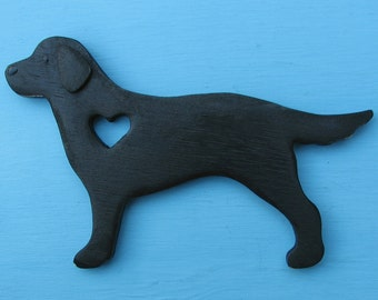 Flat Coated Retriever Rustic Heart Dog